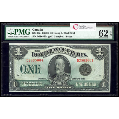 $1 1923 DC-25n Campbell-Sellar, Black seal.  Group 3. Campbell-Sellar Series D Prefix D PMG UNC-62