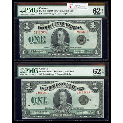 $1 1923 Consecutive DC-25n Campbell-Sellar, Black seal. Group 3. Series D Prefix D PMG UNC-62