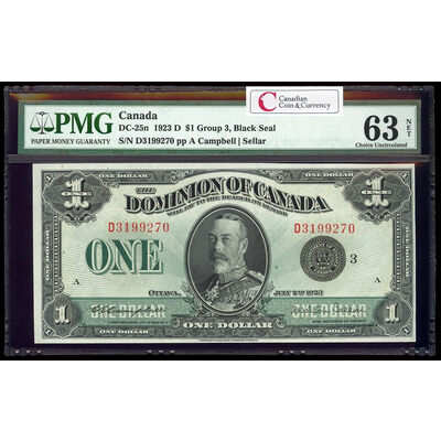 $1 1923 DC-25n Campbell-Sellar, Black seal, Group 3 Series D Prefix D PMG CUNC-63