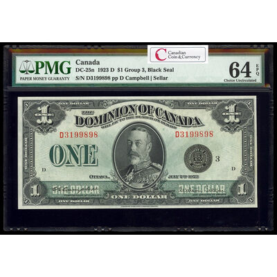 $1 1923 DC-25n Campbell-Sellar, Black seal, Group 3 Series D Prefix D PMG CUNC-64