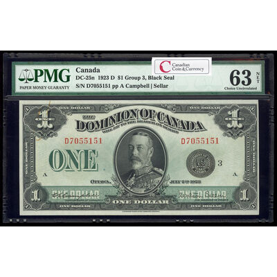 $1 1923 DC-25n Campbell-Sellar, Black seal. Group 3. Series D Prefix D PMG CUNC-63