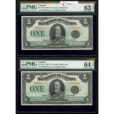$1 1923 Consecutive DC-25n Campbell-Sellar, Black seal, Group 3 Series D Prefix D PMG CUNC-63