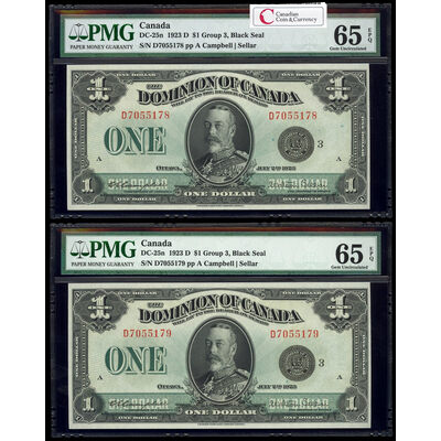 $1 1923 Consecutive DC-25n Campbell-Sellar, Black seal, Group 3 Series D Prefix D PMG CUNC-64