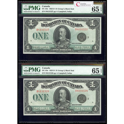 $1 1923 Consecutive DC-25n Campbell-Sellar, Black seal.  Group 3. Series D Prefix D PMG GUNC-65