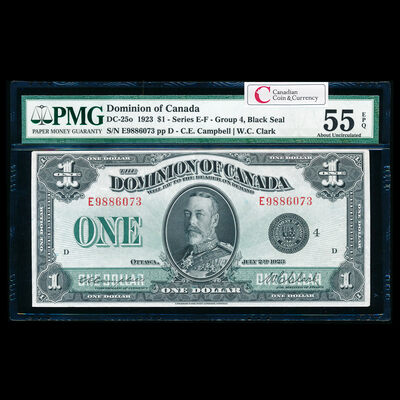 $1 1923 DC-25o Campbell-Clark, Black seal.  Group 4. Campbell-Clark Series E Prefix E PMG AU-55