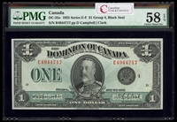 $1 1923 DC-25o Campbell-Clark, Black seal, Group 4 Series E Prefix E PMG AU-58