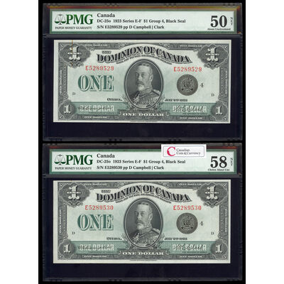 $1 1923 Consecutive DC-25o Campbell-Clark, Black seal. Group 4. Series E Prefix E PMG AU-58