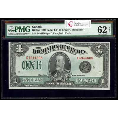 $1 1923 DC-25o Campbell-Clark, Black seal, Group 4 Series E Prefix E PMG UNC-62