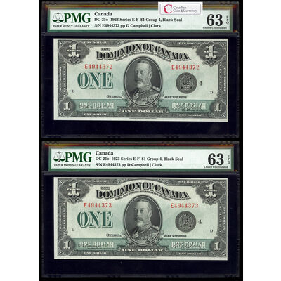 $1 1923 Matched Serial # Set DC-25o Campbell-Clark, Black seal. Group 4. Series E Prefix E PMG CUNC-63