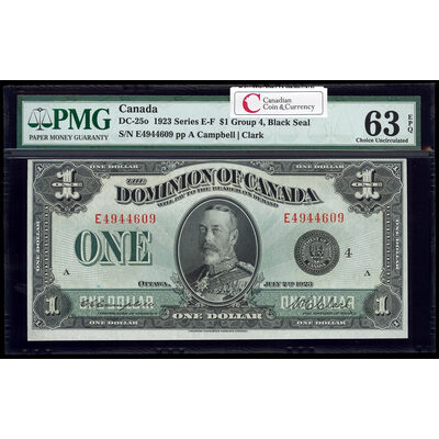 $1 1923 DC-25o Campbell-Clark, Black seal, Group 4 Series E Prefix E PMG CUNC-63