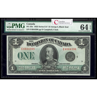 $1 1923 DC-25o Campbell-Clark, Black seal, Group 4 Series E Prefix E PMG CUNC-64