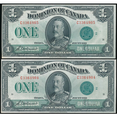 $1 1923 Consecutive Pair DC-25j McCavour-Saunders, Green seal, Group 2 Series C UNC