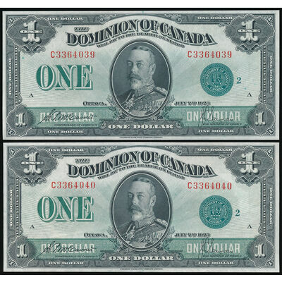 $1 1923 Consecutive Pair DC-25j McCavour-Saunders, Green seal, Group 2 Series C CHUNC