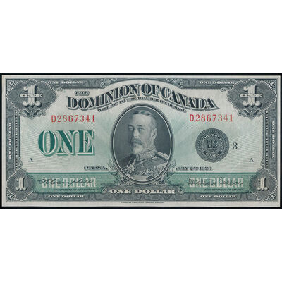 $1 1923 DC-25n Campbell-Sellar, Black seal, Group 3 Series D UNC