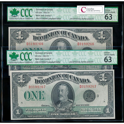 $1 1923 Consecutive Pair DC-25n Campbell-Sellar, Black seal, Group 3 Series D CHUNC