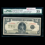 $2 1923 DC-26k Campbell-Clark, Black seal.  Group 3. Campbell-Clark Series V Prefix V PMG VF-35