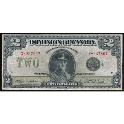 $2 1923 DC-26l Campbell-Clark Black seal.  Group 4 C. E. Campbell-W. C. Clark Series X Prefix X  EF-40