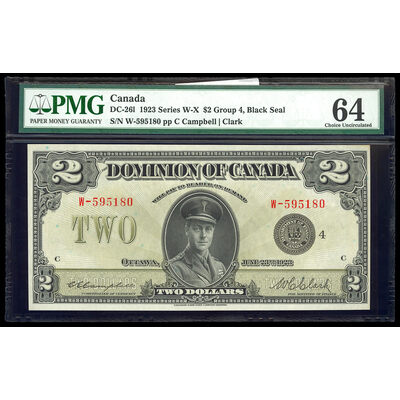 $2 1923 DC-26l Campbell-Clark, Black seal, Group 4 Series W Prefix W PMG CUNC-64