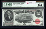 US $2 Legal Tender Note 1917 Speelman-White Small Red PMG CUNC-63