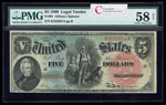 US $5 Legal Tender Note 1869 Allison-Spinner Large Red PMG AU-58