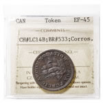 Lower Canada 1/2 Penny Token 1830 LC-14B EF-45 ICCS