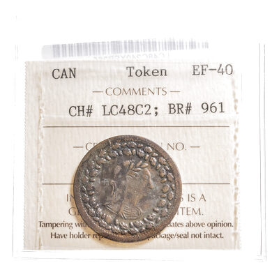 Lower Canada 1/2 Penny Token 1812 LC-48C2 EF-40 ICCS