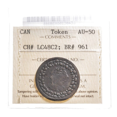 Lower Canada 1/2 Penny Token 1812 LC-48C2 AU-50 ICCS