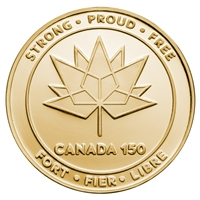 2017 Canada 150 Logo Medal - Pure Silver Gold Plated Piedfort Piece