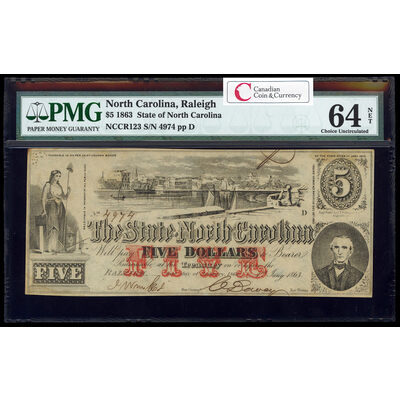 US $5 Coin Note 1863 State of North Carolina PMG CUNC-64