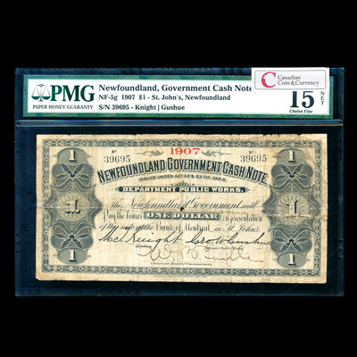 $1 1907 Gov't Cash Note PMG F-15
