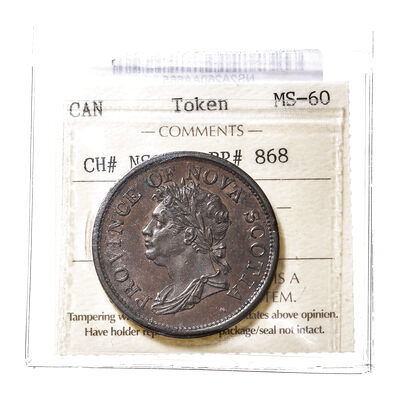 NS 1 Penny Token 1824 NS-2A2 MS-60 ICCS