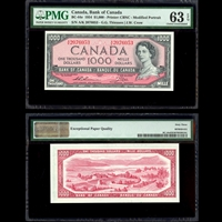 $1000 1954 English BC-44e Thiessen-Crow Thiessen-Crow Prefix A/K PMG CUNC-63