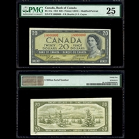 $20 1954 English Million Serial Number BC-41a Beattie-Coyne Beattie-Coyne Prefix F/E PMG VF-25
