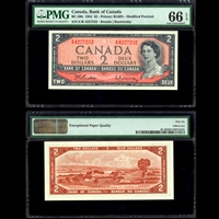 $2 1954 English BC-38b Beattie-Rasminsky Beattie-Rasminsky Prefix E/R PMG GUNC-66