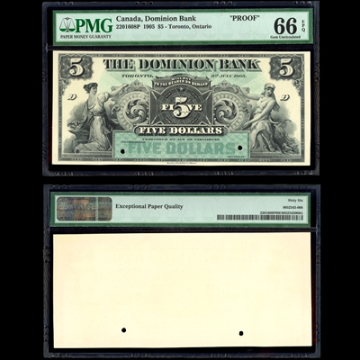 $5 1905 Dominion Bank Front Proof PMG GUNC-66