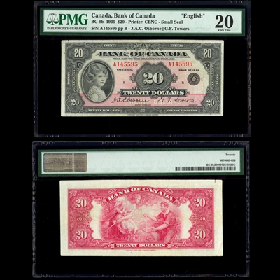 $20 1935 English BC-9b Osborne-Towers Osborne-Towers Prefix A Suffix B PMG VF-20