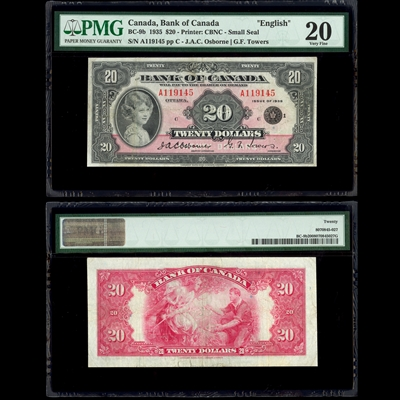$20 1935 English BC-9b Osborne-Towers Osborne-Towers Prefix A Suffix C PMG VF-20
