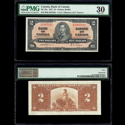 $2 1937 English BC-22a Osborne-Towers Osborne-Towers Prefix B/B PMG VF-30