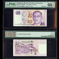 Singapore 2 Dollar ND 1999 Tau MS-66 PMG