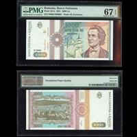 Romania 1000 Lei 1991 MS-67 PMG