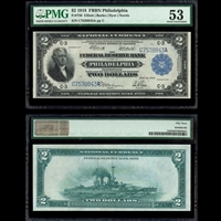 US $2 Federal Reserve Bank Note 1918 Dyer-Norris Blue Seal Right Blue Serial Number Philadelphia PMG AU-53