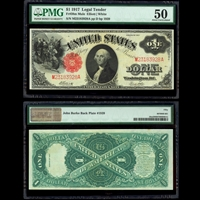 US $1 Legal Tender Note 1917 Elliott-White Small Red PMG AU-50
