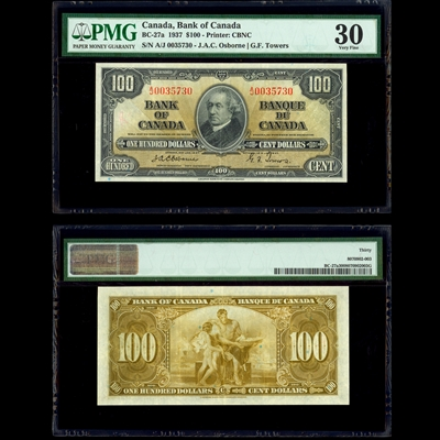 $100 1937 English BC-27a Osborne- Towers Osborne-Towers Prefix A/J PMG VF-30
