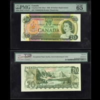 $20 1969 Replacement BC-50aA Beattie-Rasminsky Beattie-Rasminsky Prefix EH PMG GUNC-65