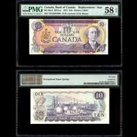 $10 1971 Replacement BC-49cA RD7a-j R.W Lawson-G.K.Bouey R.W. Lawson-G.K. Bouey Prefix DY PMG AU-58