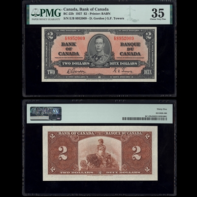 $2 1937 BC-22b Gordon-Towers Gordon-Towers Prefix E/B PMG VF-35