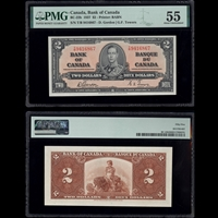 $2 1937 BC-22b Gordon-Towers Gordon-Towers Prefix T/B PMG AU-55
