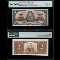 $2 1937 BC-22b Gordon-Towers Gordon-Towers Prefix W/B PMG AU-55