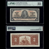 $2 1937 BC-22b Gordon-Towers Gordon-Towers Prefix N/B PMG AU-55