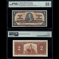 $2 1937 BC-22b Gordon-Towers Gordon-Towers Prefix R/B PMG AU-56